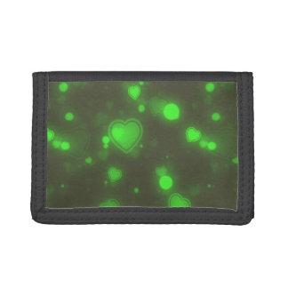 Neon Green Glitter Bubble Hearts Tri-fold Wallets