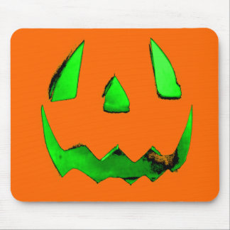 Neon Green Glow Jack O'Lantern Face Mouse Pad