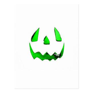 Neon Green Glow Jack O'Lantern Face Postcard