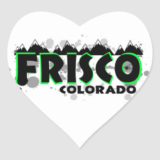 Neon green grunge Frisco Colorado Heart Sticker