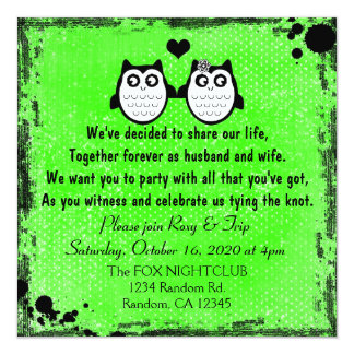 Neon green grunge owl punk wedding invitations