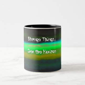 Neon Green Haze & Strange thingsBlack Background Two-Tone Coffee Mug