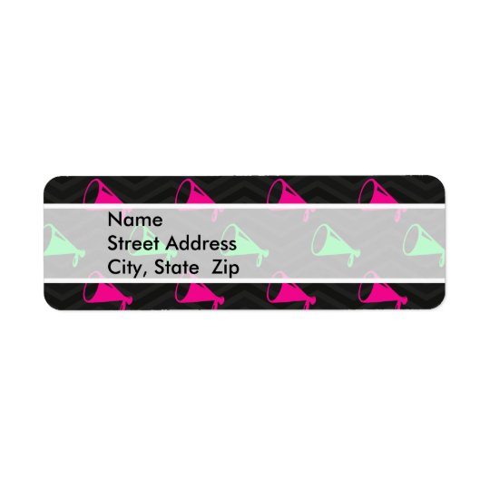 Neon Green, Hot Pink, Cheerleader, Black Chevron Return Address Label