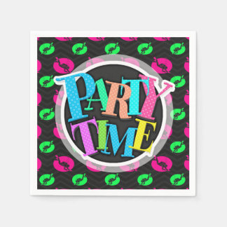 Neon Green, Hot Pink, Scuba Diving, Black Chevron Disposable Napkin