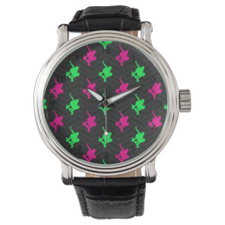 Neon Green, Hot Pink, Skater, Black Chevron Watch