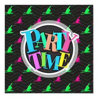 """Neon Green, Hot Pink, Snow Ski, Black Chevron 5.25"""" Square Invitation Card"""