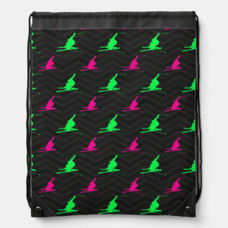 Neon Green, Hot Pink, Snow Ski, Black Chevron Drawstring Bag