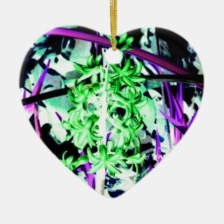Neon Green Hyacinth Ceramic Heart Ornament