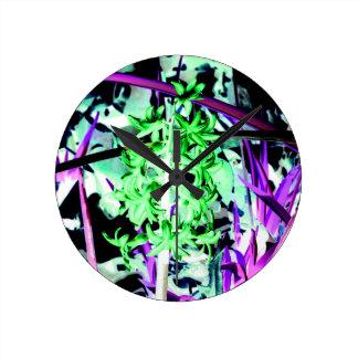 Neon Green Hyacinth Wallclocks
