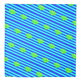 Neon green kiss lips blue stripes duvet cover