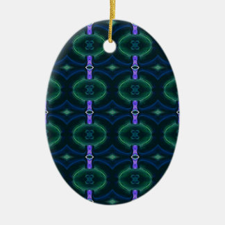 Neon Green Lavender Seamless Linked Pattern Ceramic Oval Ornament
