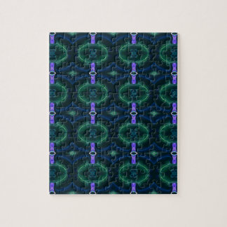 Neon Green Lavender Seamless Linked Pattern Jigsaw Puzzle