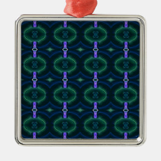 Neon Green Lavender Seamless Linked Pattern Silver-Colored Square Ornament