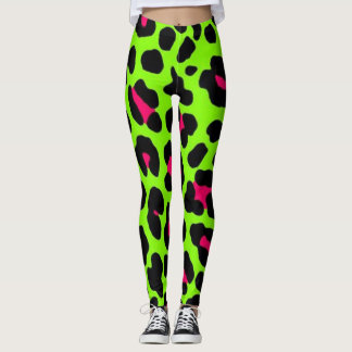 Neon Green Leopard Print Leggings