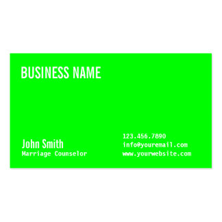 Neon Green Marriage Counseling Business Card