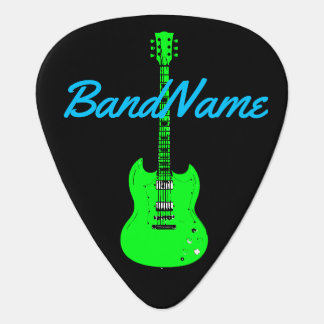 neon green on black, electric guitar pick