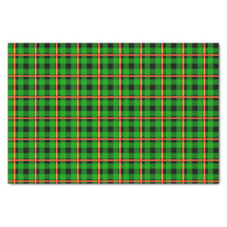 Neon Green & Orange Tartan Tissue Paper