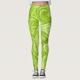 Neon green paisley swirl pattern leggings