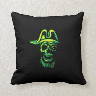 Neon Green Pirate Skull Throw Pillow