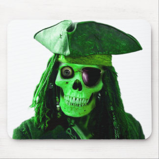 Neon Green Pirate with skully & patch Mouse Pad
