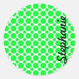 Neon Green Polka Dots Round Sticker