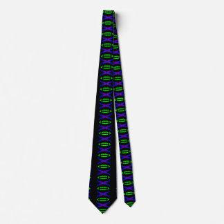 Neon Green Purple Techno Geeky Art Tie