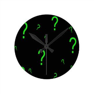 Neon Green Question Mark Round Clock