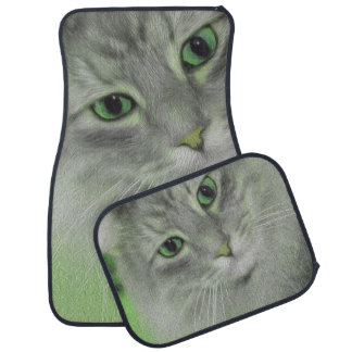 Neon Green Siberian Cat Car Carpet