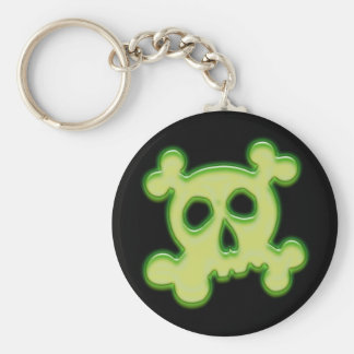 NEON GREEN SKULL AND CROSSBONES KEYCHAIN