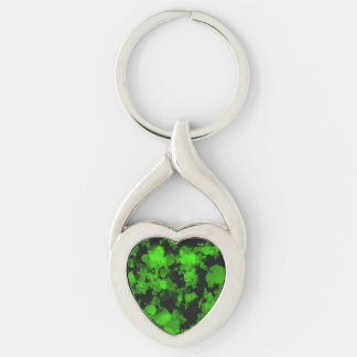 Neon Green Splatter Heart Silver-Colored Twisted Heart Keychain