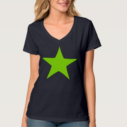 Neon Green Star Design T-shirt