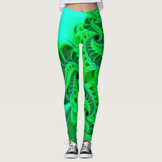Neon Green Swirl Leggings