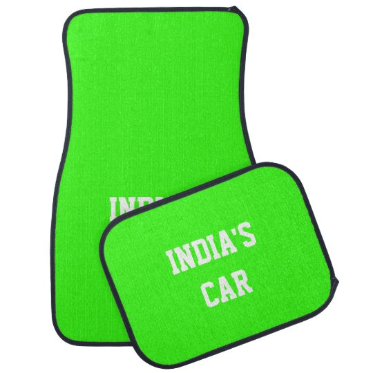 Neon Green Upscale Solid Colour Name Car Mat