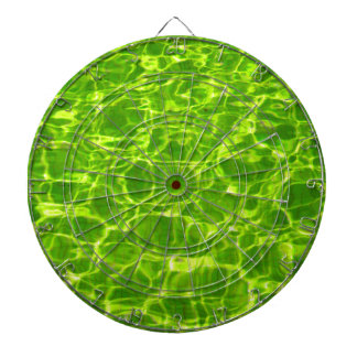 Neon Green Water Patterns Background Blank Modern Dartboard With Darts