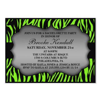 """Neon Green Wild Night Zebra Bachelorette Party 5"""" X 7"""" Invitation Card"""