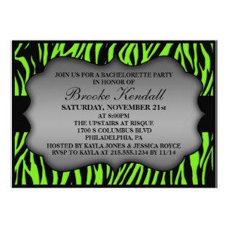 Neon Green Wild Night Zebra Bachelorette Party Personalized Invitation