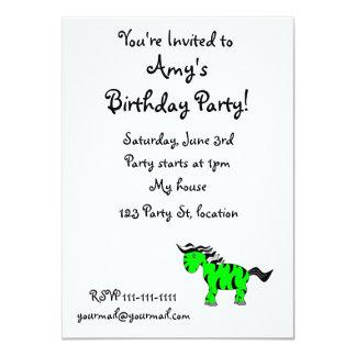 """Neon green zebra 4.5"""" x 6.25"""" invitation card"""