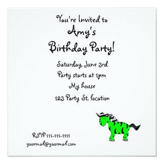 """Neon green zebra 5.25"""" square invitation card"""
