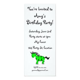 """Neon green zebra 4"""" x 9.25"""" invitation card"""