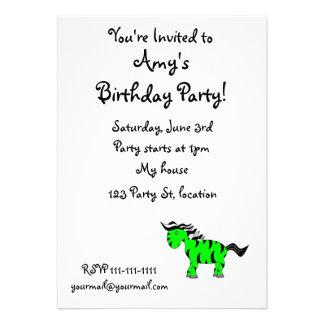 Neon green zebra custom invitation