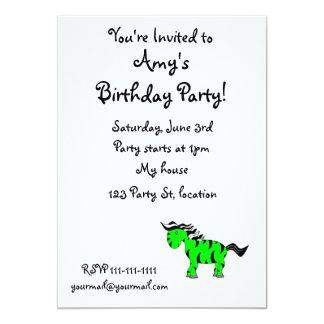 """Neon green zebra 5"""" x 7"""" invitation card"""