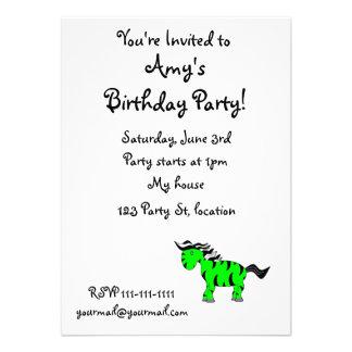 Neon green zebra personalized invitations