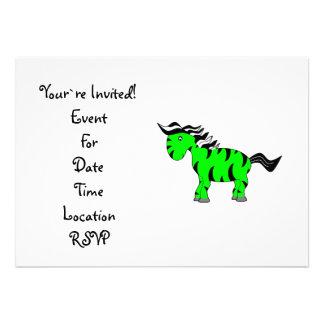 Neon green zebra personalized invitation