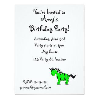 """Neon green zebra 4.25"""" x 5.5"""" invitation card"""
