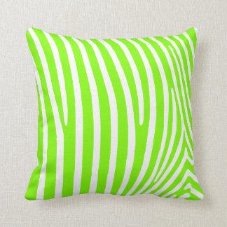 Neon Green Zebra Pattern Throw Pillow