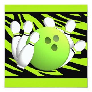 """Neon Green Zebra Stripe Bowling Party 5.25"""" Square Invitation Card"""