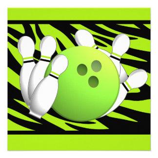 Neon Green Zebra Stripe Bowling Party Custom Invites