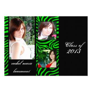 Neon Green Zebra Stripe Graduation Announcement