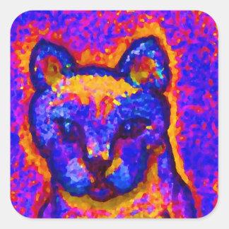 Neon Grey Cat  CricketDiane Art & Design Square Sticker