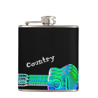 Neon Guitars Country Music Fan or Musician Hip Flask